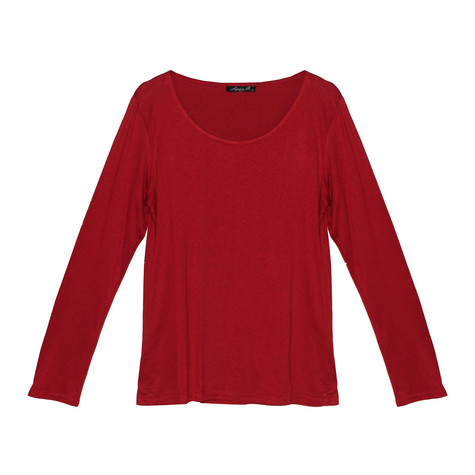 SophieB Red Round Neck Long Sleeve Top