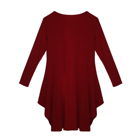 SophieB Red Round Neck Long Sleeve Dress