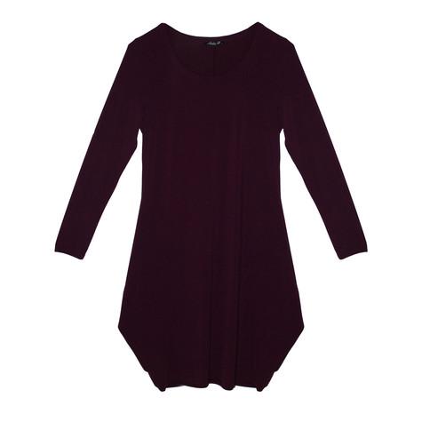 SophieB Bordeaux Round Neck Long Sleeve Dress