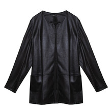 SophieB Black Faux Leather Round Neck Jacket