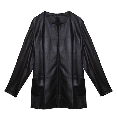 SophieB Black Faux Leather Round Neck Jacket