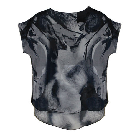 SophieB Grey & Navy Abstract Round Top
