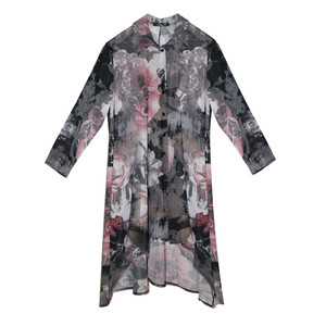 SophieB Grey & Red Abstract Long Blouse