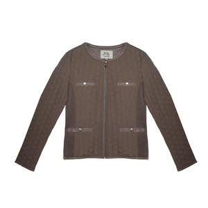 Softy Beige Round Neck Zip Jacket