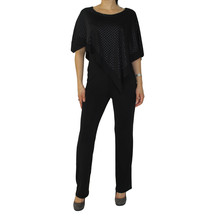 Zapara Black Mesh Cape Jumpsuit