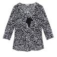 Zapara Black & White Chanel Bow N-Neck Top