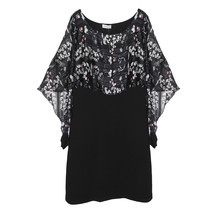Zapara Floral Print Black Mesh Poncho Dress