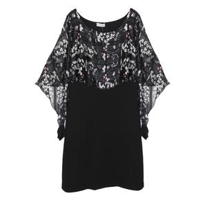 Zapara Floral Print Black Mesh Poncho Dress