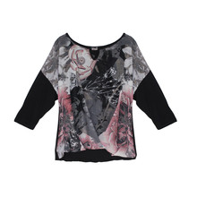 SophieB Grey & Pink Front Wrap Blouse