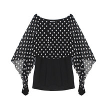 Zapara Black & White Polka Dot Mesh Cape Top