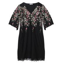 Zapara Black Red Floral Pattern V-Neck Dress