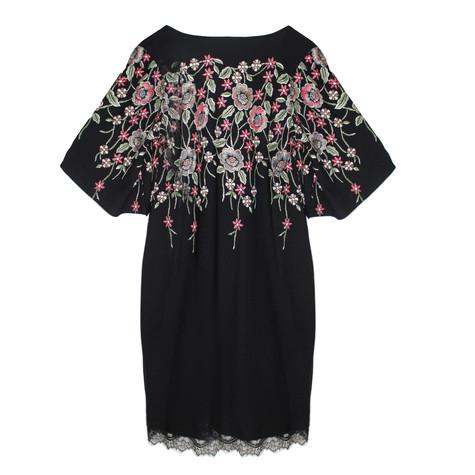 Zapara Black Red Floral Pattern V-Neck Dress