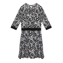 Zapara Ecru & Black Circular Pattern Print Dress