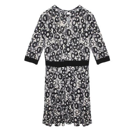 Zapara Ecru & Black Circular Pattern Print Dress
