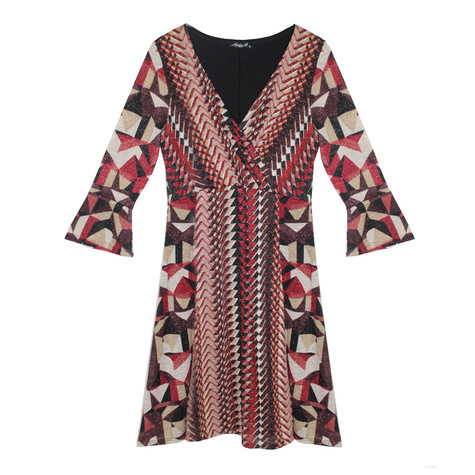 SophieB Wine & Gold Abstract Pattern Print Dress