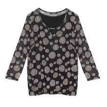 SophieB Black & Beige Spot Round Neck Top