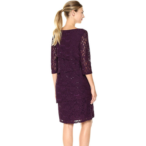 Ronni Nicole Eggplant 3/4 Sleeve Tiered Lace Sheath