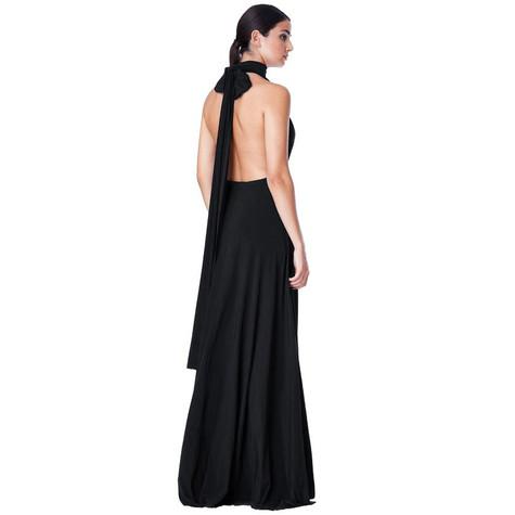 Goddiva BLACK MULTI WAY PLEATED MAXI DRESS