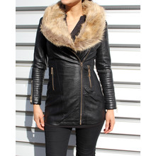 Stella Morgan Black Fun Fur Long Biker Jacket