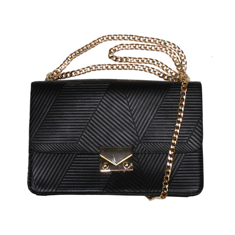 Mimosa Black Rib Style Gold Chain Handbag