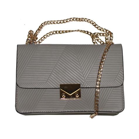 Mimosa Grey Rib Style Gold Chain Handbag
