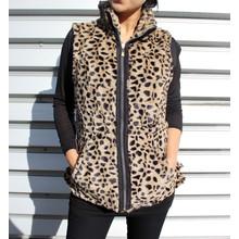 Teezher Leopard Reversible Black Sleeveless Jacket