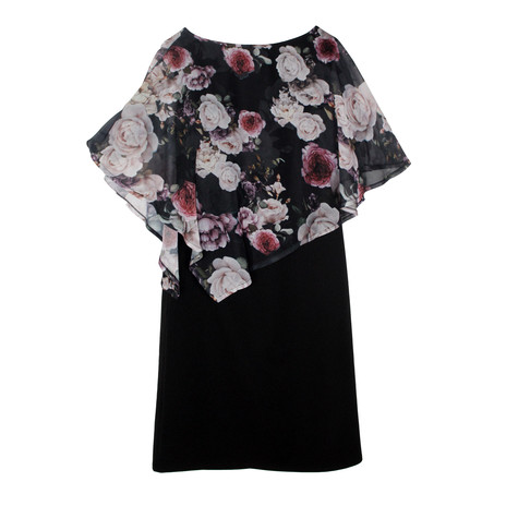 Zapara Black Floral Pattern Cape Dress