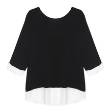 SophieB Black & White Crepe Ribbon Top