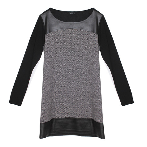 SophieB Check Pattern Black Round Neck Dress