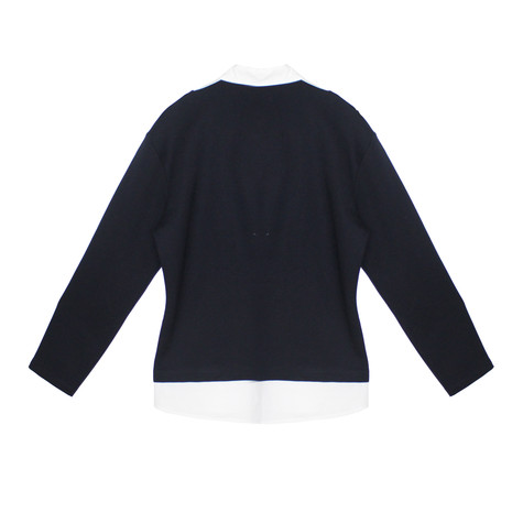Twist Navy White Collar Embroidery Top
