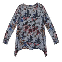Twist Navy & Dark Dress Birds Print Top
