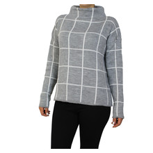 Twist White Panel Stripe Grey Chimney Neck Knit