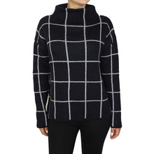 Twist White Panel Stripe Navy Chimney Neck Knit