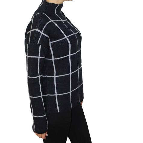 Twist White Panel Stripe Navy Chimney Neck Knit