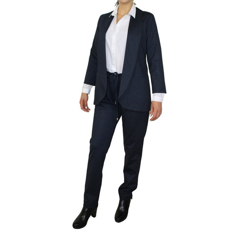 SophieB Navy Open Long Blazer Jacket