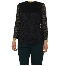 Zapara Black Lace Long Sleeve Top