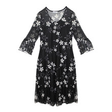 Zapara Black Lace Long Sleeve Dress