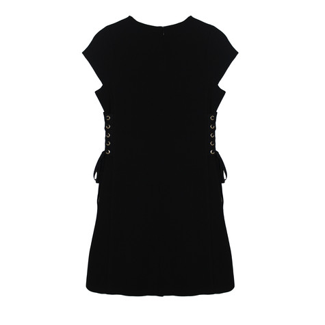 Zapara Black Eyelet Detail Round Neck Dress