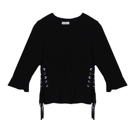 Black Eyelet Detail Crop Jacket