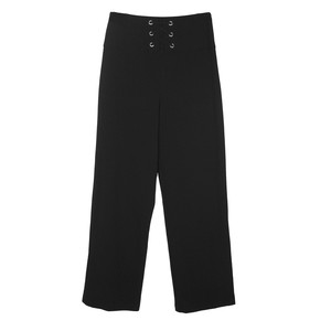 Zapara Black Tie Waist Wide Leg Trousers