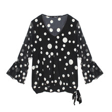 SophieB Black & Beige Spot Zip Detail Top