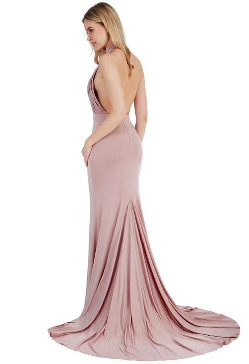 Pamela Scott ROSE HALTER NECK FISHTAIL MAXI DRESS