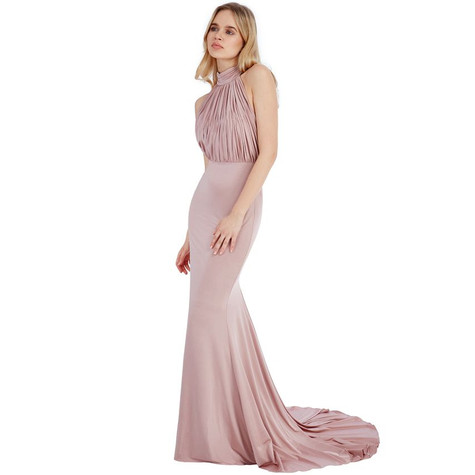 Goddiva ROSE HALTER NECK FISHTAIL MAXI DRESS