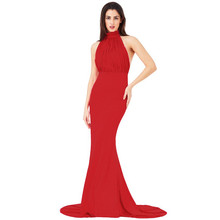 Goddiva RED HALTER NECK FISHTAIL MAXI DRESS