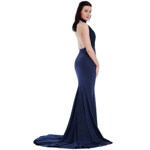 Goddiva NAVY HALTER NECK FISHTAIL MAXI DRESS