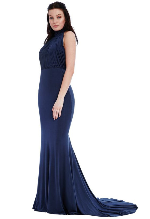 Pamela Scott NAVY HALTER NECK FISHTAIL MAXI DRESS