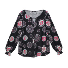 SophieB Red & Grey Circular Pattern Black Top