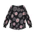 SophieB Red & Grey Circular Pattern Black Top