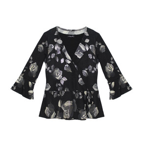 SophieB Metallic leaf Pattern Print Black Top