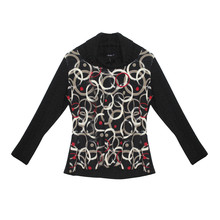 SophieB Circular Pattern Turtle Neck Top